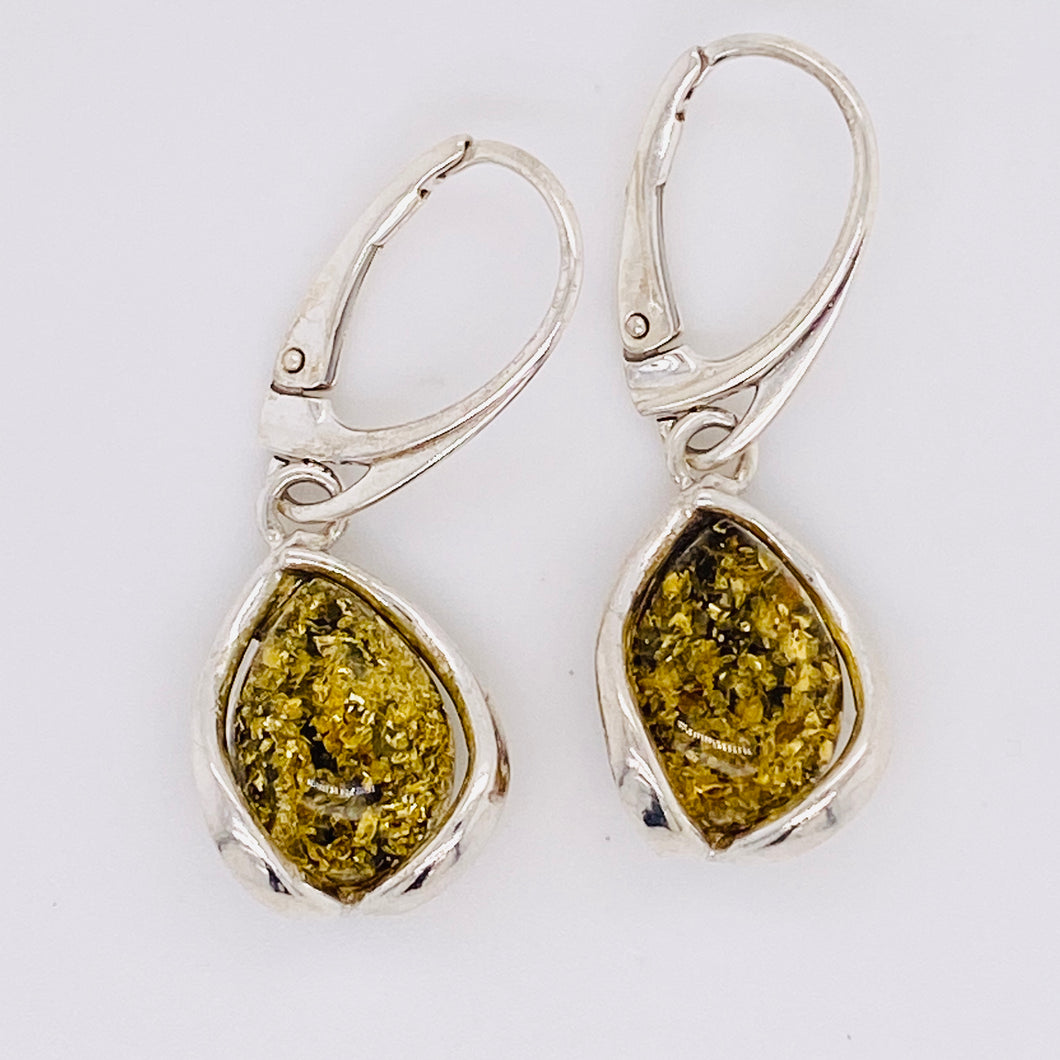 Sterling Silver Green Amber Dangle Earrings