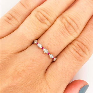 Diamond and Ruby Band Stackable