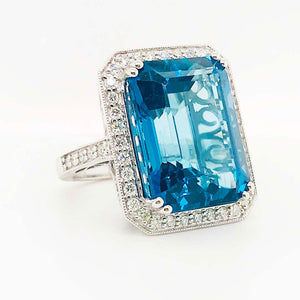 27 Carat Topaz & Diamond Halo Ring 14K White Gold Emerald Royal Ocean Blue Color