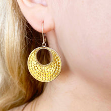 Caviar 18 karat Gold & Sterling Large Round Dangle Earrings