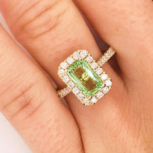 Mint Tsavorite Garnet & Diamond Halo Custom Ring