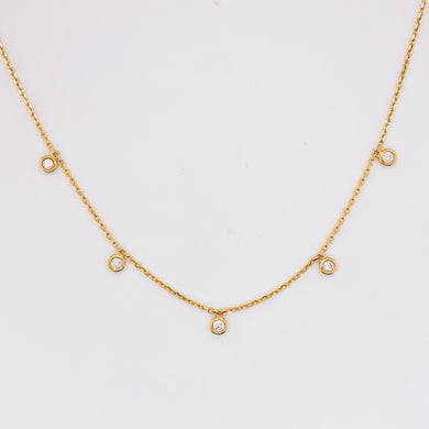Five Diamond Charm Necklace