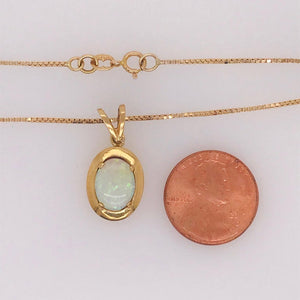 Oval Opal Gemstone Pendant and Chain