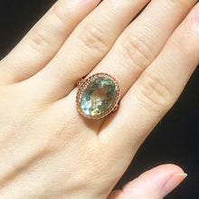 Green Amethyst Statement Ring in Rose Gold