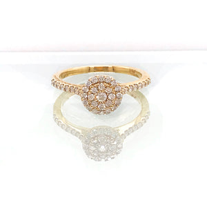 Round Pave Diamond Engagement Ring in Yellow Gold