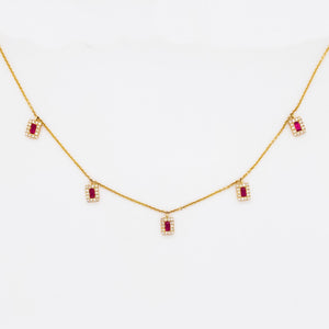 Ruby & Diamond Halo By The Yard Necklace