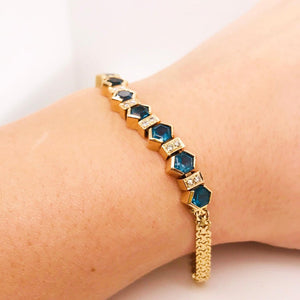 Deep Blue Tourmaline and White Diamond Bracelet