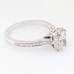 Vintage Style Radiant Diamond With Halo - 19k White Gold Ring