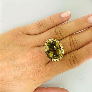 Original Tacori Olive Quartz Statement Ring, 18k Yellow Gold Bezel & Sterling Ring, Size 7 sizable