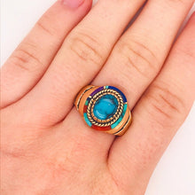 Turquoise, Coral, Lapis and Sugilite Custom Gold Ring