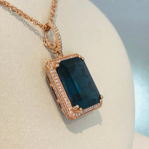 London Blue Topaz and Diamond Rose Gold Pendant