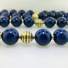 Natural Blue Lapis Bead Necklace with Gold Beads