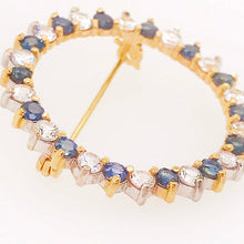 Diamond and Round Blue Sapphire Gold Brooch/Pin