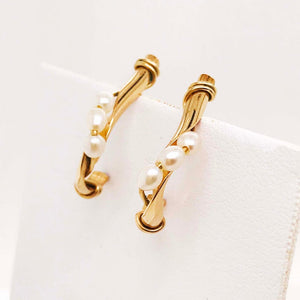 Estate Pearl J Hoop Earrings