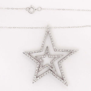 Double Open Diamond Star Necklace in 14k Gold