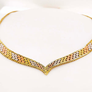 "Tri Color Gold ""V"" Pointed Necklace"