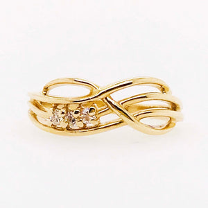 Diamond Twisted Infinity Design Band Estate Ring