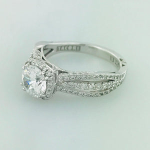 Tacori GIA Certified Round Diamond 18 Karat Gold Halo Engagement Ring