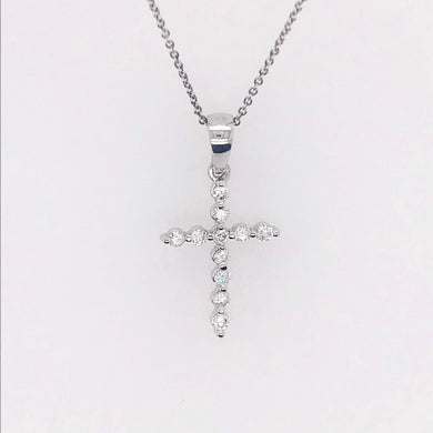 Diamond Cross Pendant & Chain in 14K White Gold