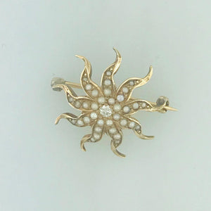 Victorian Antique Cultured Seed Pearl Starburst Brooch/Pin Estate