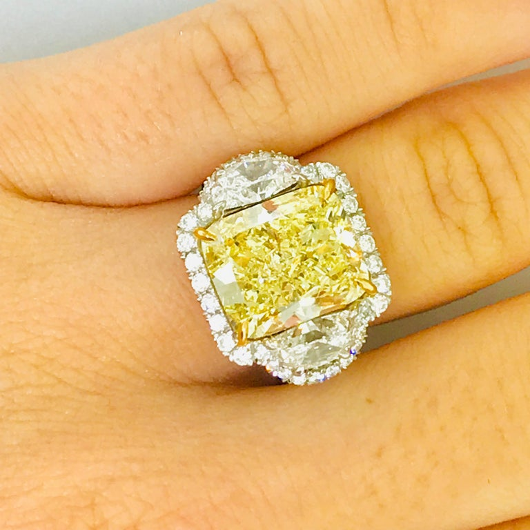Certified 9 Carat Fancy Yellow Diamond Engagement Ring