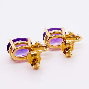 Oval Amethyst and Diamond Cluster Earring Studs 14 Karat Yellow Gold, February