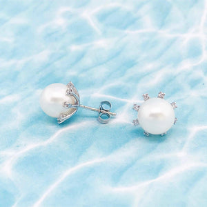 Diamond and Pearl Earrings Studs