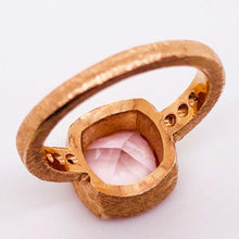 Cushion Morganite and Diamond Band 14 Karat Gold Custom Ring with Satin Finish