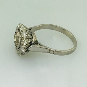 Old European Cut Diamond and Diamond Halo Engagement Ring Estate