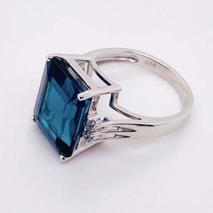 12.50 Carat London Blue Topaz and Diamond Ring 14 Karat White Gold Midnight Blue