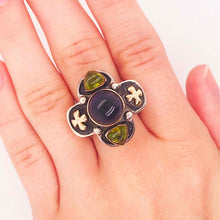 Iolite and Peridot Ring Gold & Sterling