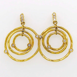 Diamond Open Circle Chandelier Dangle Earrings