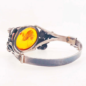 Estate Handcrafted Amber Garden Design Bangle Bracelet