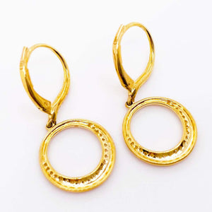 14K Gold Dangle Diamond Brushed Open Circle Earrings, Satin Finish with Diamonds