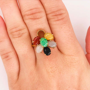 Gold Multicolored Natural Jade Ring