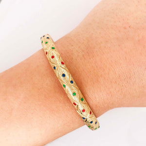 Red, Blue & Green Enamel Gold Bangle Bracelet