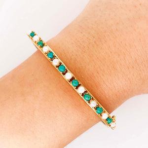 Estate Antique Pearl and Amazonite Bangle Bracelet