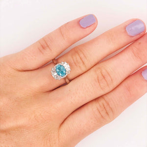 Blue Zircon and Diamond Baguette Engagement Ring
