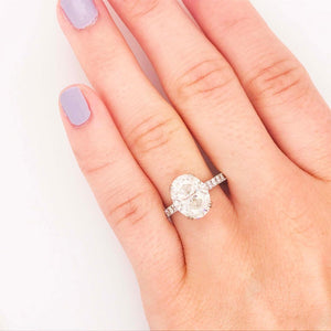 Certified Custom 3.50 Carat Oval Diamond Engagement Ring
