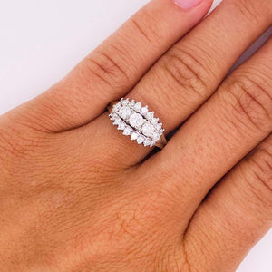 Three-Stone Diamond Estate Ring Past Present Future 14 Karat White Gold