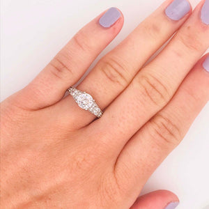 Certified Diamond Vintage Style Ring and Antique Hand Engraving