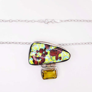 Organic Gemstone and Emerald Cut Citrine Sterling Silver Custom Necklace