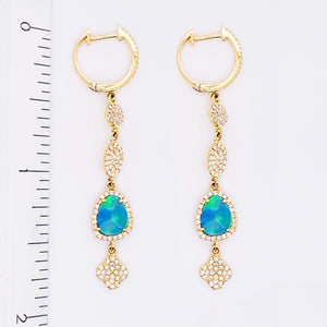Australian Opal & Diamond Dangle Earrings