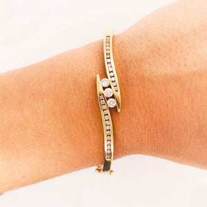 Diamond Bangle Bracelet-.60 ct Total Weight 14k Gold