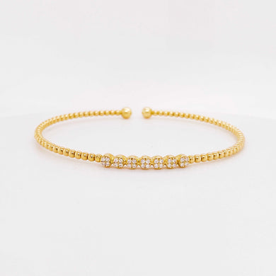 Diamond Pave Disk Bangle Bracelet