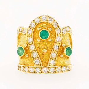 Diamond and Emerald Crown Ring