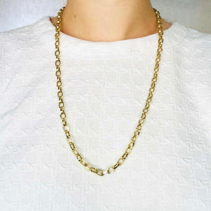 Large Chain Link Necklace-14 karat yellow gold