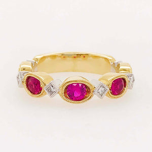 "The ""Ruby Romance"" Ruby and Diamond Ring, Two-Tone Diamond Band"