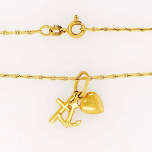 Hope, Faith, Charity Charms Cross Anchor Heart Necklace, 14 Karat Yellow Gold