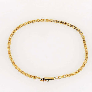 14K Wheat Bracelet in a Chain Design with a 14 K Round Barrel Clasp, Chain Brac